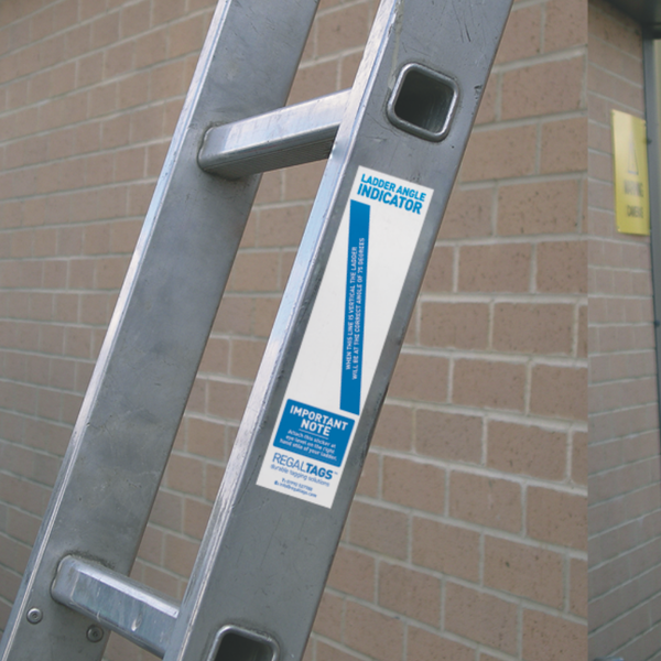 Ladder inspection tag in use